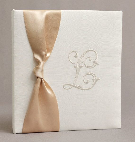 Wedding Memory Book Personalized With Your Monogram Ribbon Color