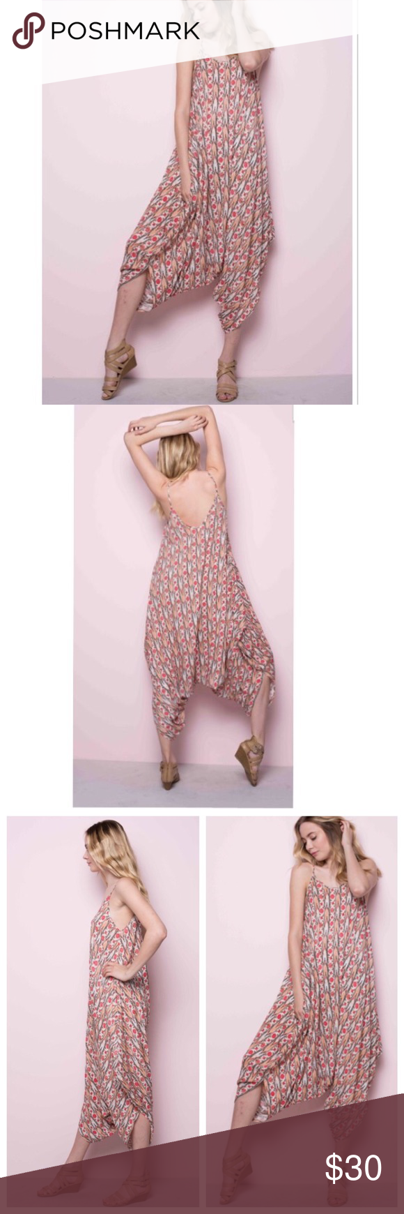 Chic printed harem jumpsuit Chic loose fit printed harem jumpsuit rayon soft fabric relaxed fit great style PLEASE Use the Poshmark new option you can purchase and it will give you the option to pick the size you want ( all sizes are available) BUNDLE and save 10% ( no trades price is firm unless bundled) Pants Jumpsuits & Rompers
