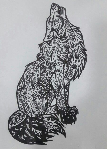 Zentagled the wolf penart zentangle majestic