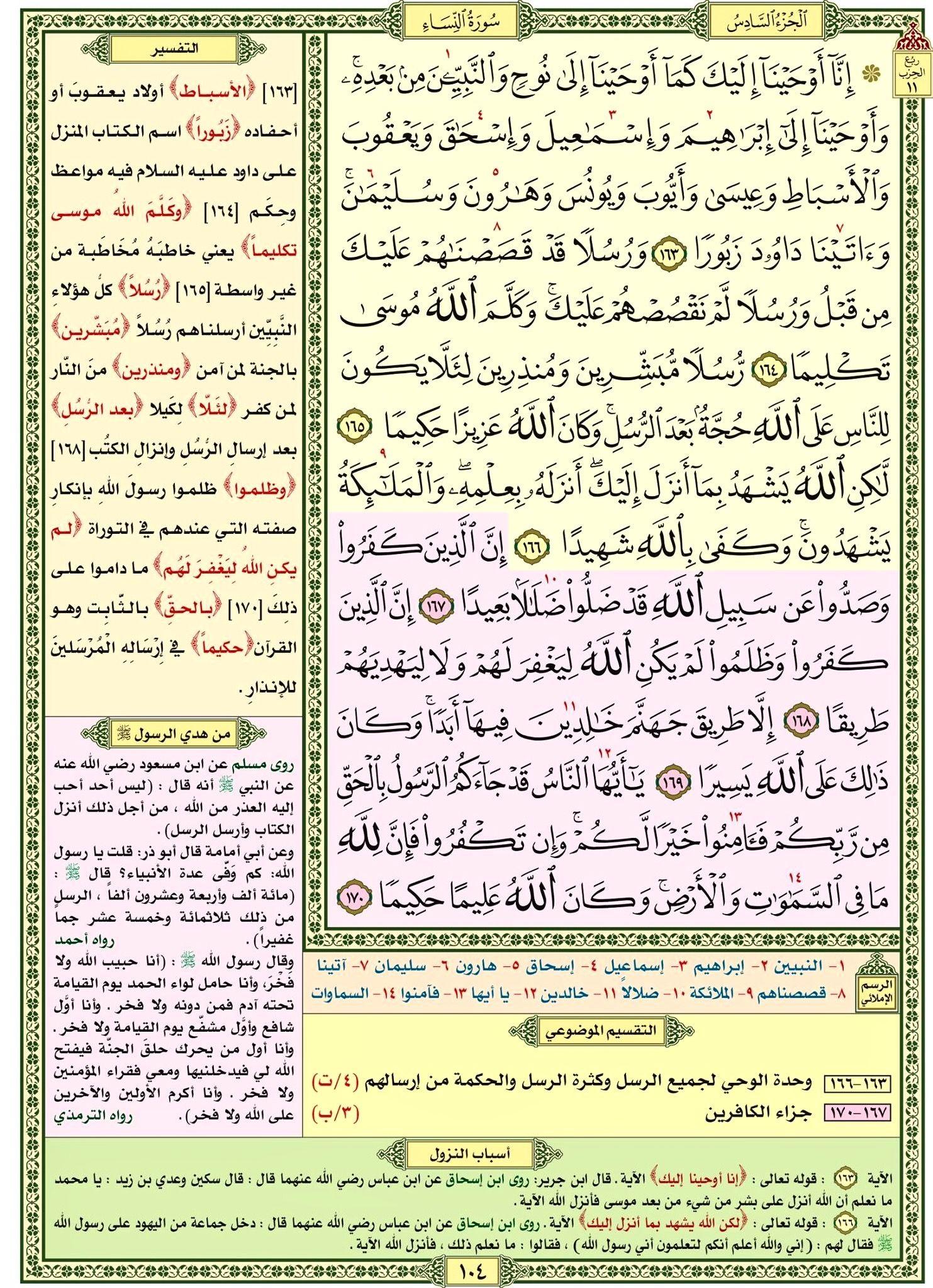 سورة النساء صفحة رقم ١٠٤ مصحف التقسيم الموضوعي للحافظ المتقن Quran Verses Verses Bullet Journal
