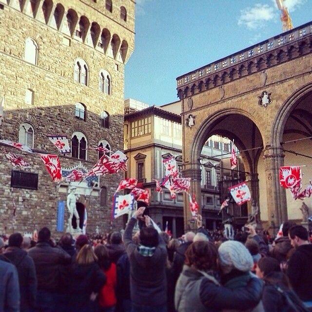"""The """"sbandieratori"""" of Florence in Piazza della Signoria, Florence."""