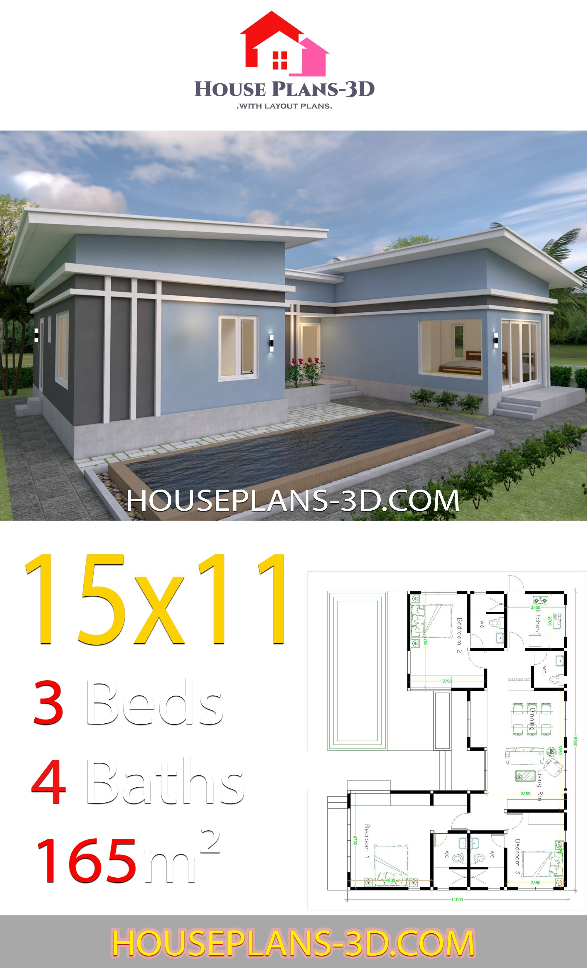 House Plans 15x11 With 3 Bedrooms Slope Roof House Plans 3d In 2020 House Plans Beach House Plans House Plan Gallery