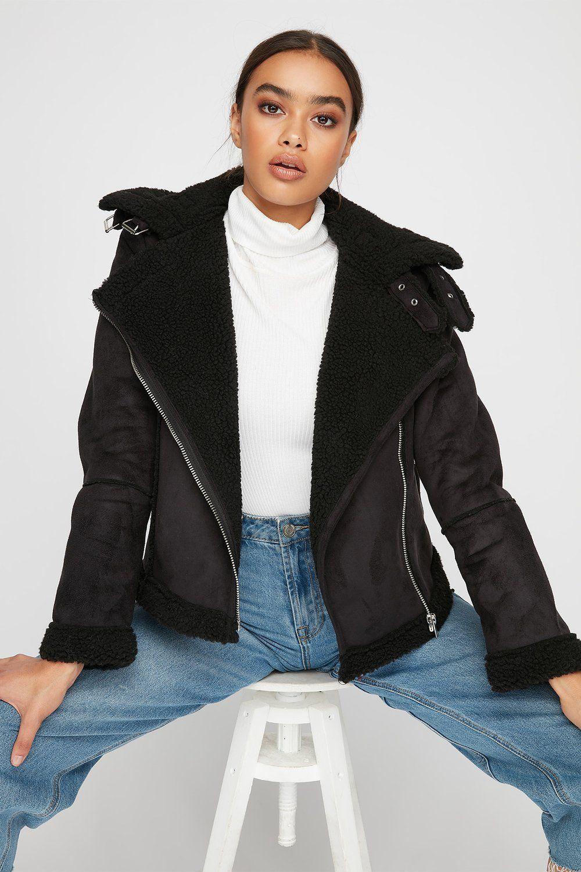 Women Outerwear Faux Suede Sherpa Biker Jacket Black Outerwear Women Biker Jacket Jackets [ 1500 x 1000 Pixel ]
