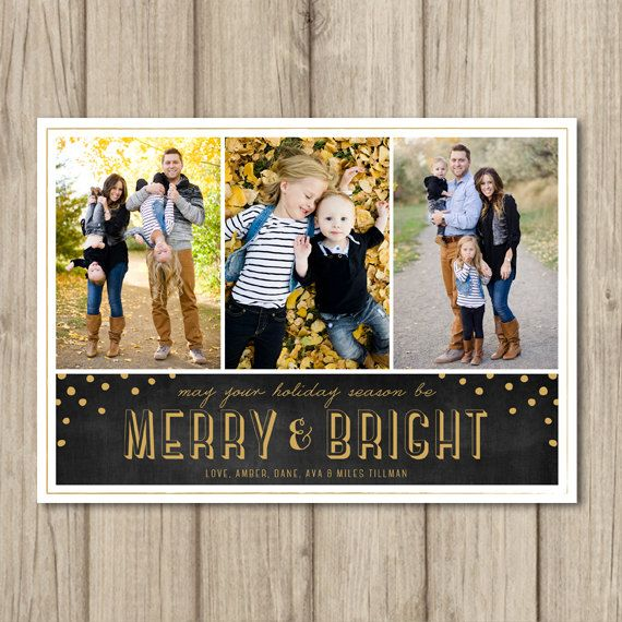 PHOTO CHRISTMAS Card - Merry and Bright - Digital or Printed - cc6 on Etsy, $15.50