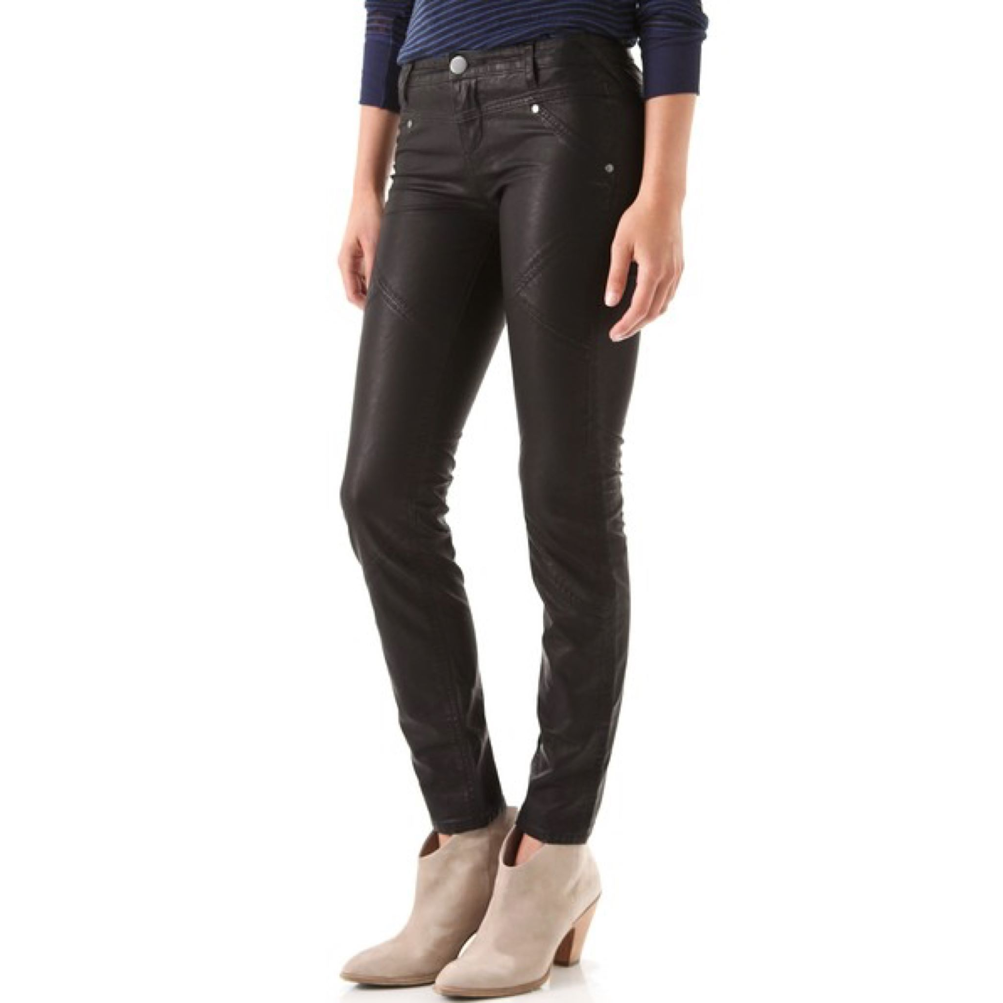 "Free People ""We The Free"" Vegan Leather Mid-Rise Skinny Moto Pants - Only $49.99  FREE Shipping! Shop link in bio. #freepeople #jeans #discount #swankybazaar"