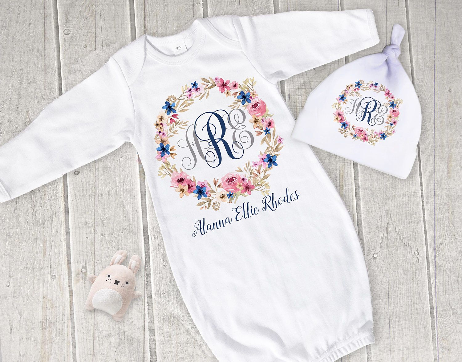 Monogrammed Baby Gown, Personalzied Baby Outfit, Name Baby Gown ...