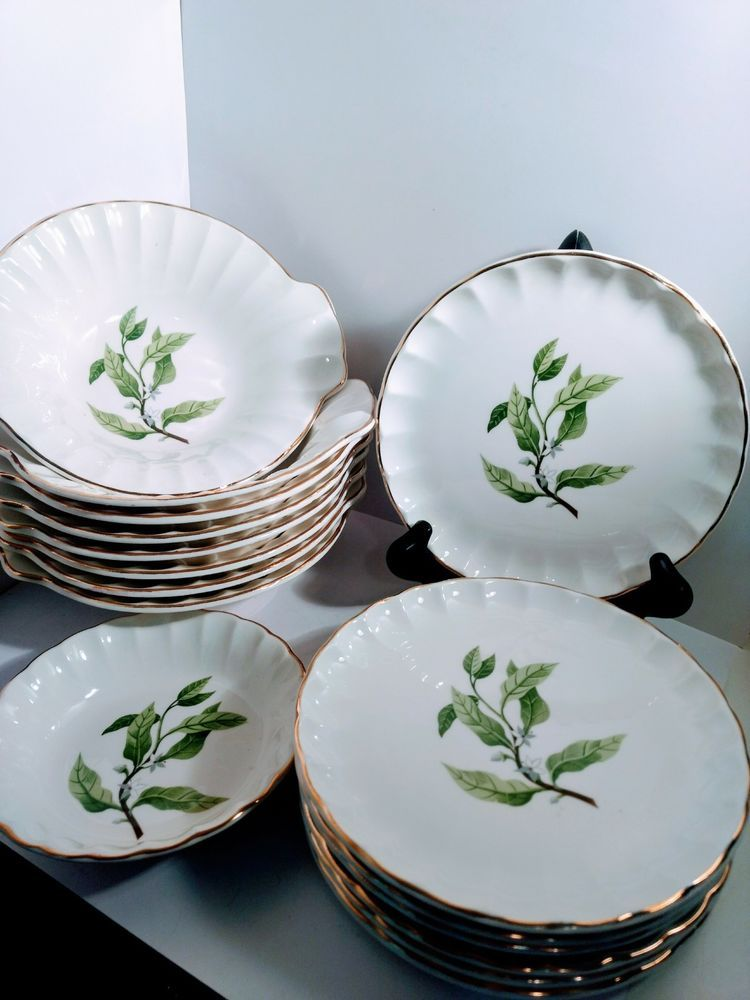 Vintage W S George Fine China B8760 Bolero Shape 18 Pieces Collection Made In Us Wsgeorge
