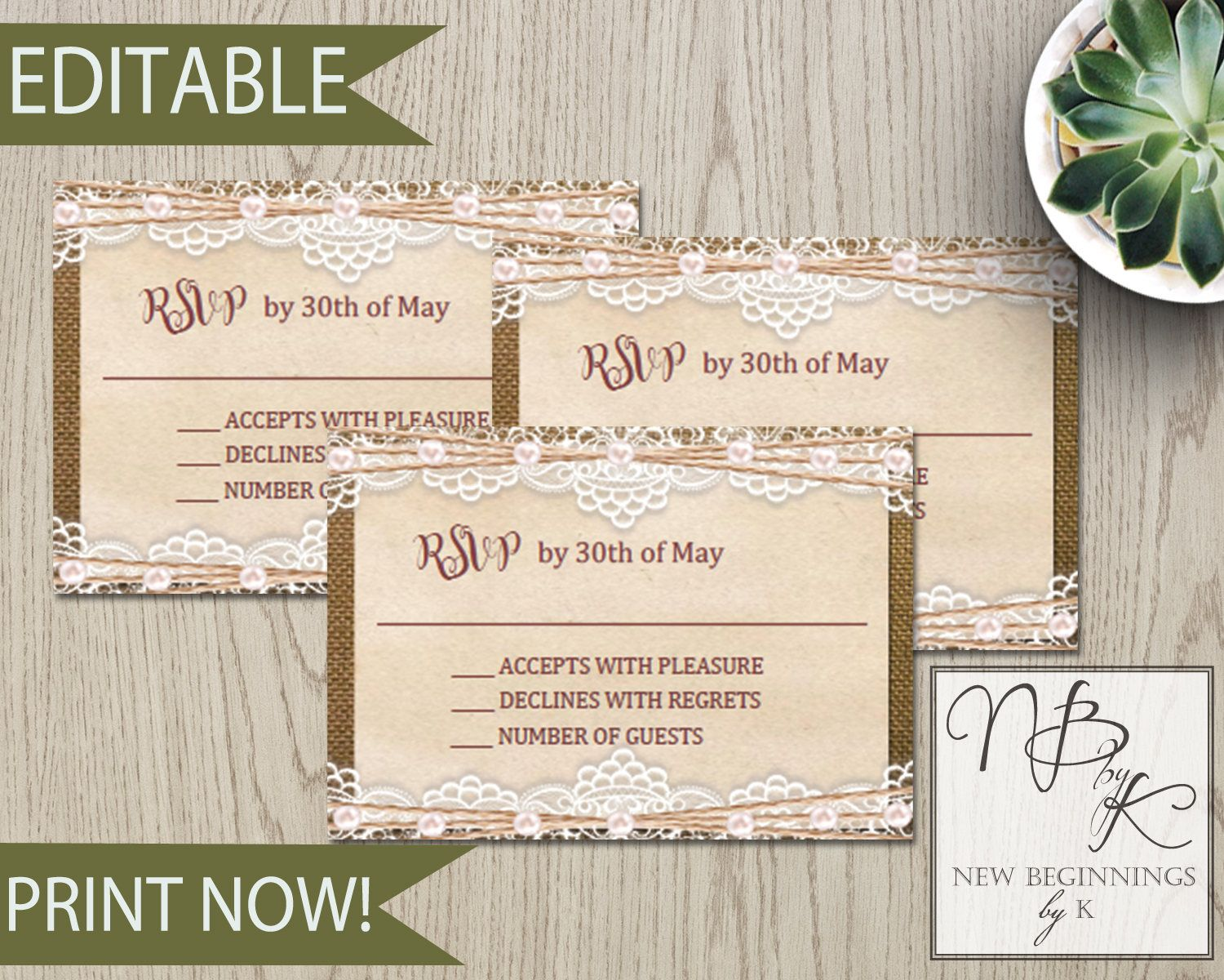 EDITABLE Rustic Burlap Wedding RSVP card with lace and pearls ...