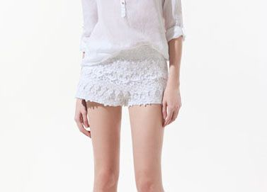 Short Encaje Pantalones Cortos De Ganchillo Pantalones Cortos De Encaje Blanco