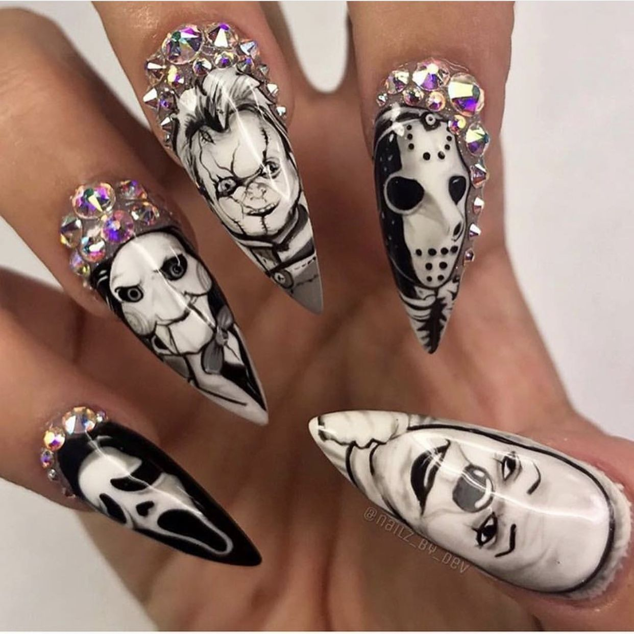 35 skull killer nail art designs forecasting to wear for spring in 2019