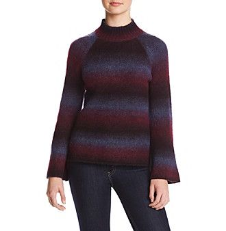 Kensie Striped Mock Neck Bell Sleeve Sweater