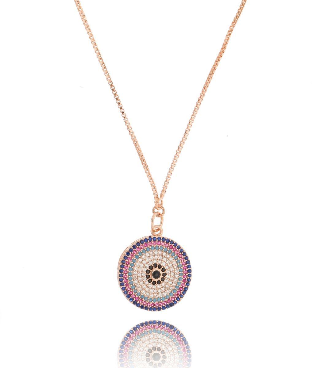 Colar de olho grego colorido ajustável semi joia com banho de ouro rose 6e9c7c6c8a