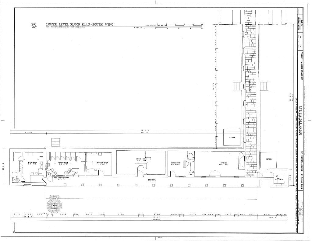 Lower Level Floor Plan South Wing Thomas Jefferson Monticello Charlottesville Va Habs Va 2 Thomas Jefferson Home Monticello Architecture Blueprints