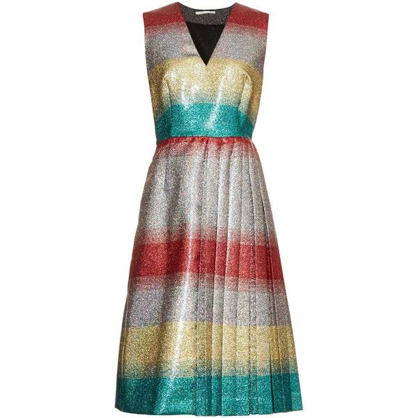 Marco De Vincenzo Metallic striped V-neck dress (€375) ❤ liked on Polyvore featuring dresses, multi, white sleeveless dress, white dress, white striped dress, sleeveless pleated dress and white v neck dress