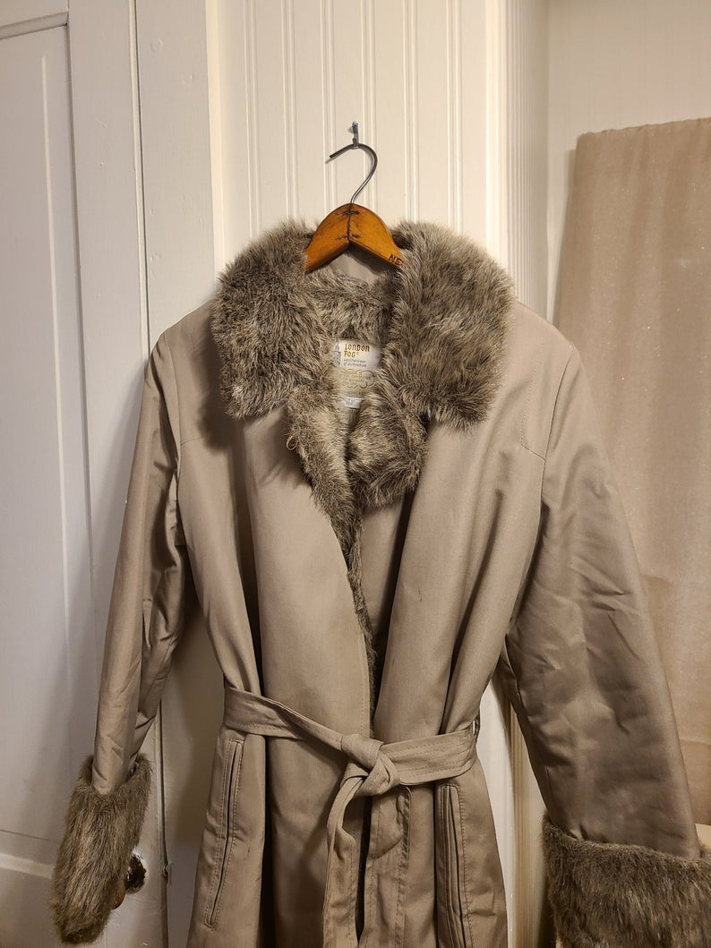 Tweed 90s does 50s 60s style dress with faux fur trim mod party