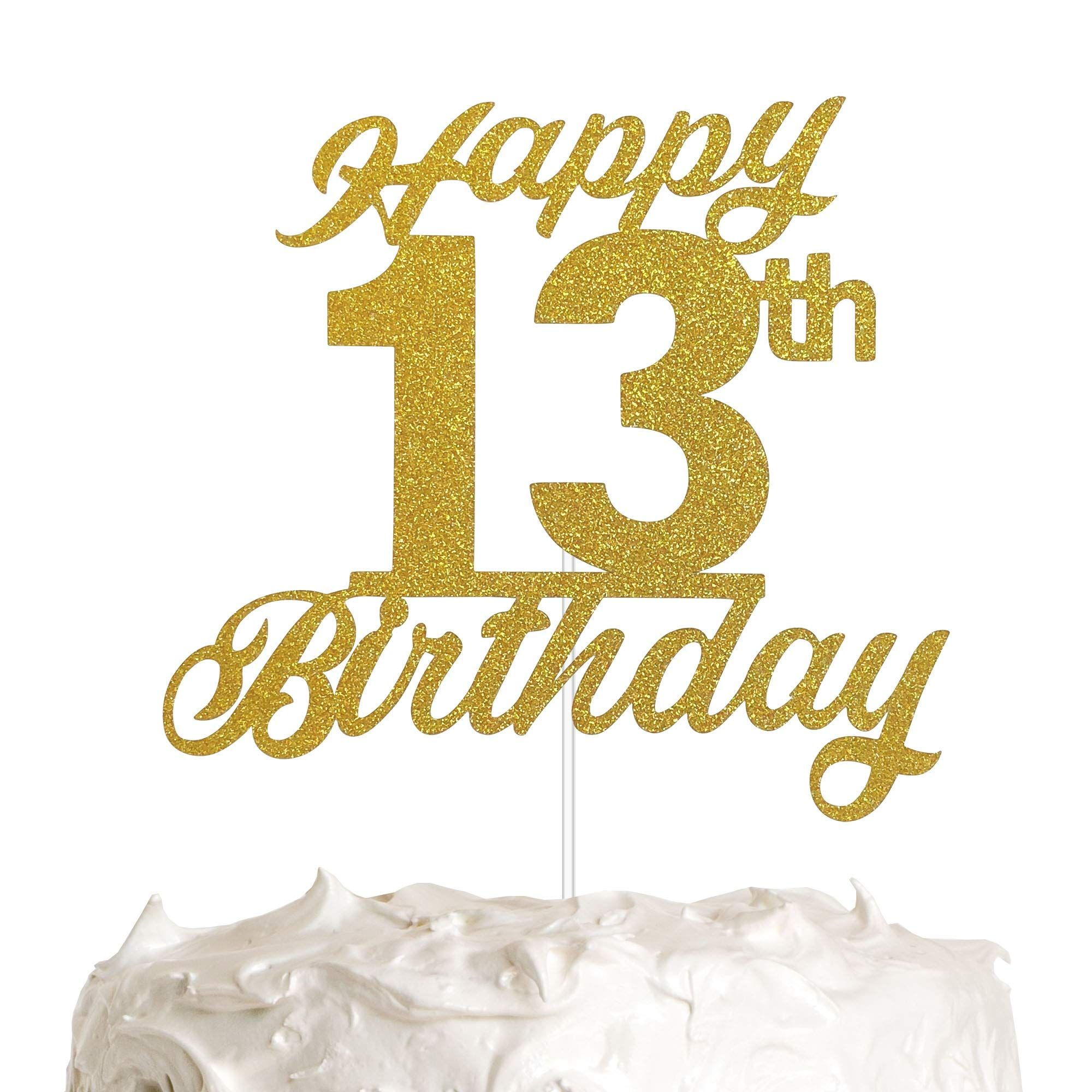 13th Birthday Cake Topper 13th Happy Birthday Party Decoration With Premium Gold Glitter Happy Birthday Party Decorations Happy 13th Birthday 13 Birthday Cake
