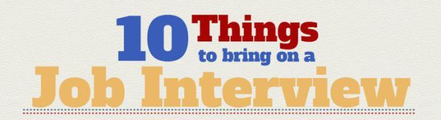 infographic : Top 10 Things to Bring to a Job Interview