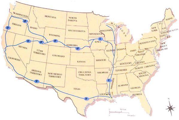 Railroad Map Harriman America Development Transportation