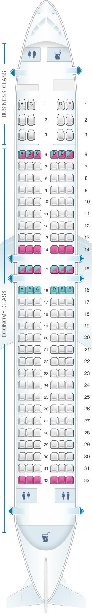 Seat Map Flydubai Boeing B737 800 Config. 2 Kingfisher
