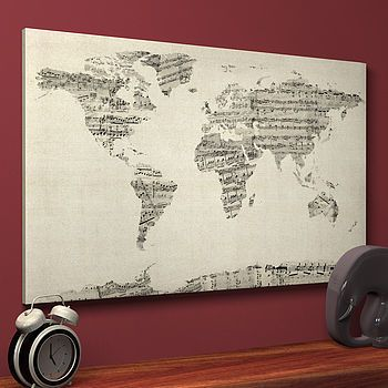 Sheet music world map art print canvases sheet music and printing sheet music world map art print gumiabroncs Image collections