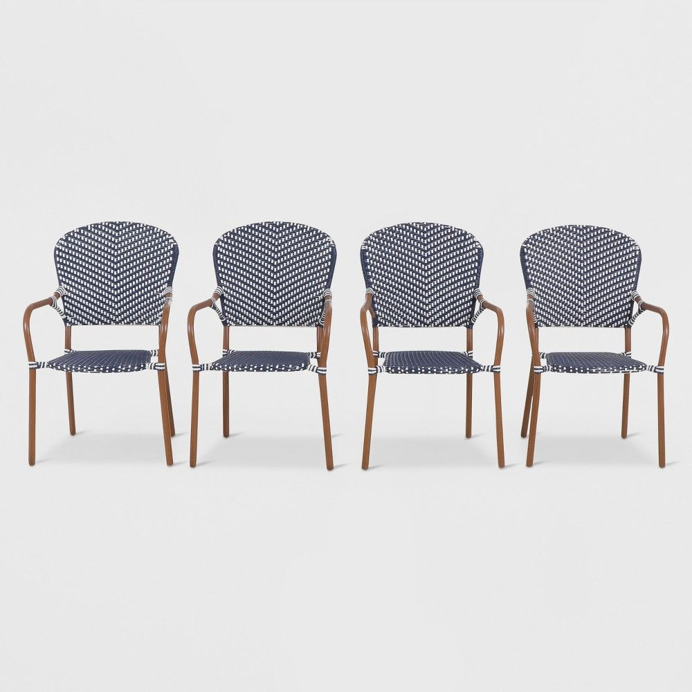 French Café 4pk Wicker Patio Dining Chair Navy White Blue
