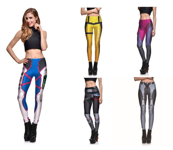 Game OW Overwatch Tracer 2 Pcs Women Cosplay Leggings Stretch Top+Pants  New