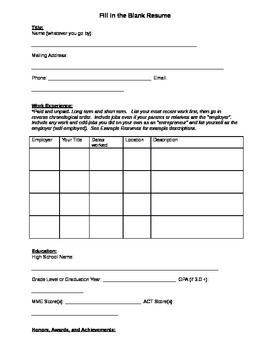 Fill In The Blank Resume. High School StudentsCareer ...  Resume Worksheet For High School Students