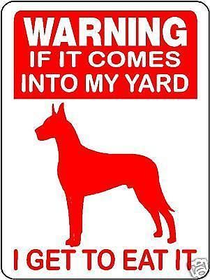 Great Dane Guard Dog Aluminum Sign Warning D2670 Dog Signs