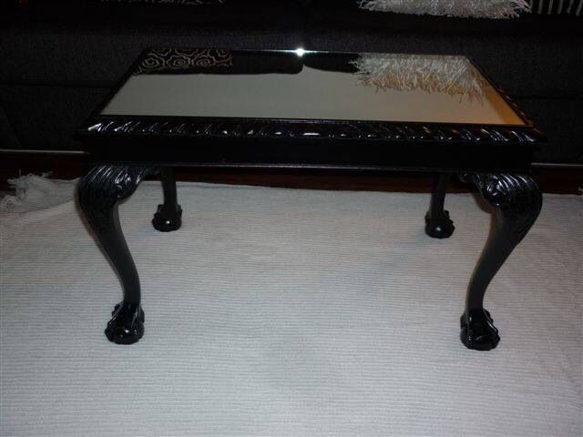 vintage ball & claw foot coffee table painted gloss black & added
