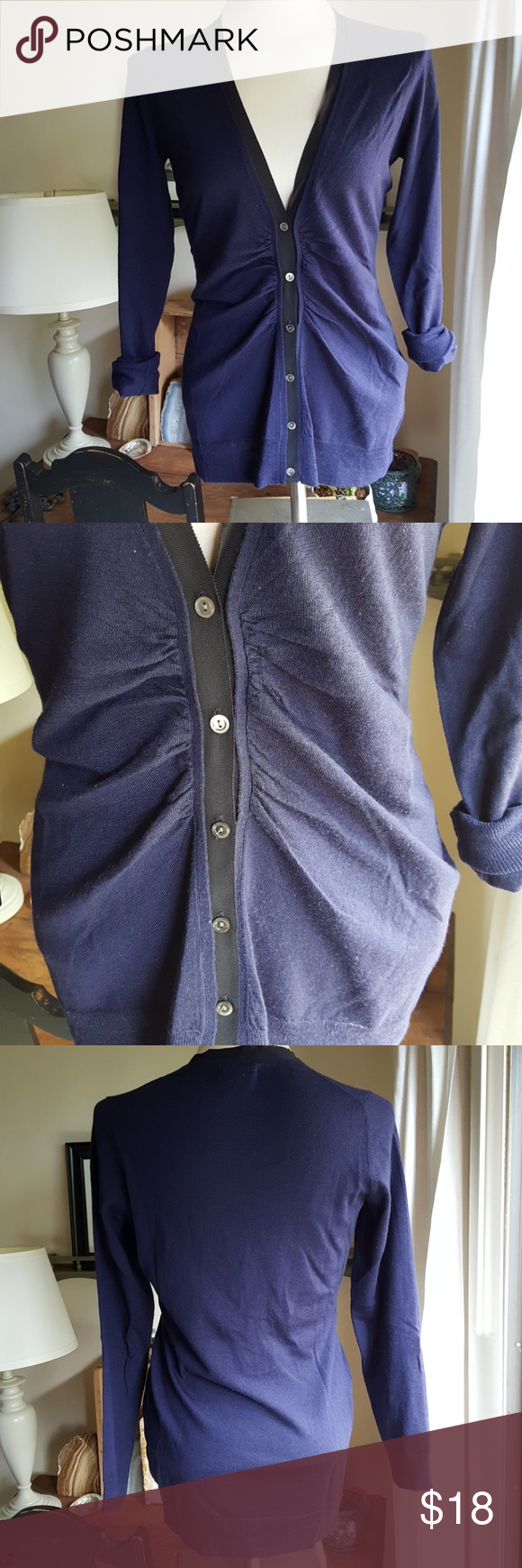 Lightweight Merino Cardigan   Navy blue cardigan, Grosgrain and ...