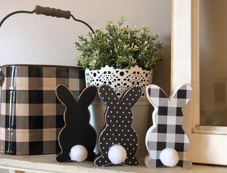 Easter bunny, farmhouse decor, Easter decor, buffalo check, shelf sitters, spring mantle decor, shabby chic, Easter basket gift, allseasonz,