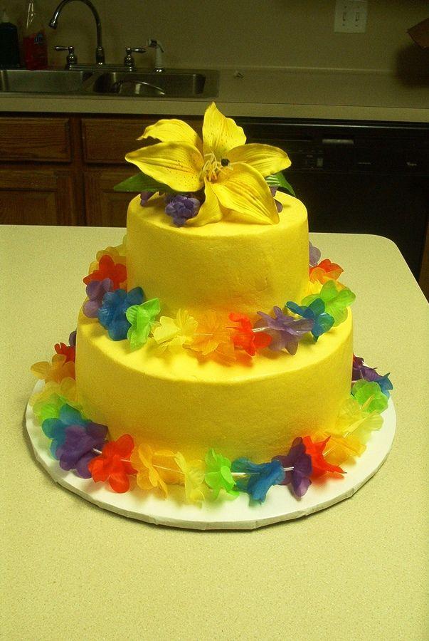 Hawaii Themed Wedding Cakes Hawaiian Bachlorette Cake Colorful