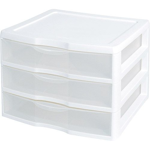 Sterilite Wide 3 Drawer Unit White Walmart Com Plastic Storage Drawers Storage Bins Desktop Storage