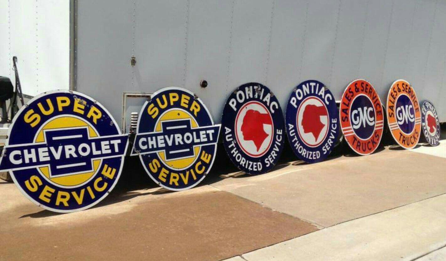 Original General Motors Porcelain Sign Collection
