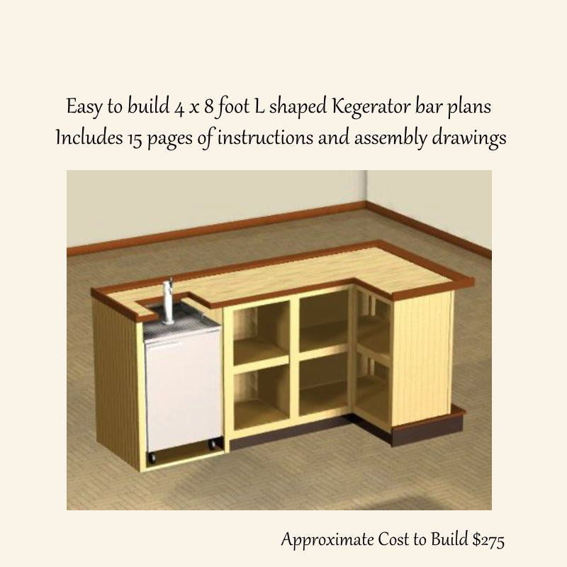 Home Bar Building Plans: Easy To Build 4 X 8 Foot L Shaped Home Bar Plans