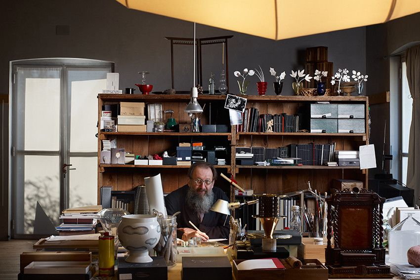 Michele De Lucchi in his Milan studio, which is located in a converted Art Nouveau building This could be my desk