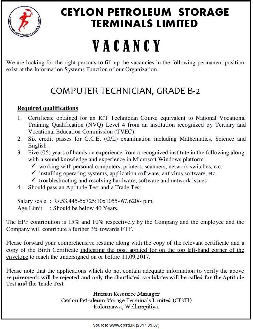 Computer Technician At Ceylon Petroleum Storage Terminals Limited