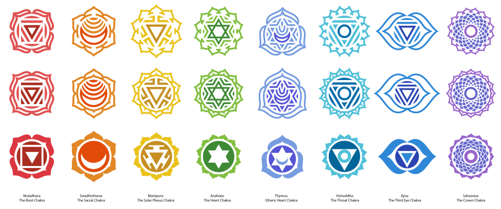 A traditional set of chakra symbols  You are welcome to use these