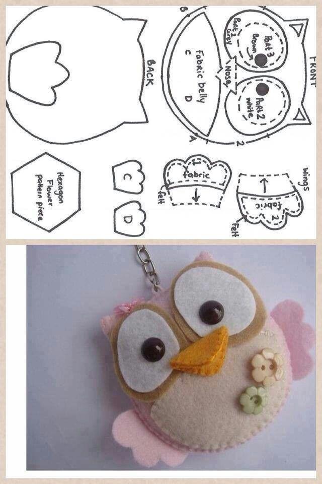 Felt owl   Guide Swaps   Pinterest   Fieltro, Molde y Llaveros