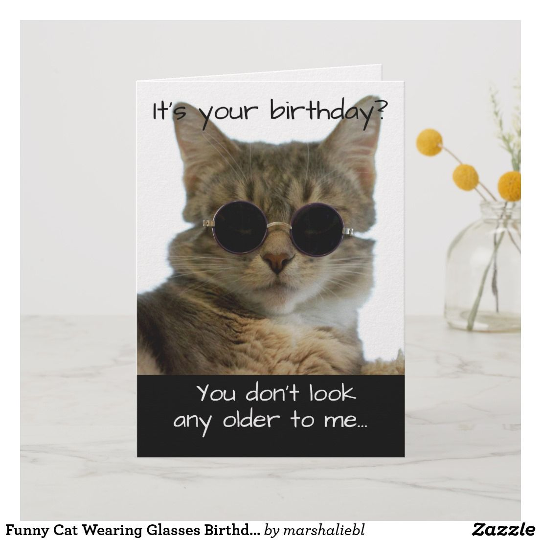 Funny Cat Wearing Glasses Birthday Card Cat Birthday Cards