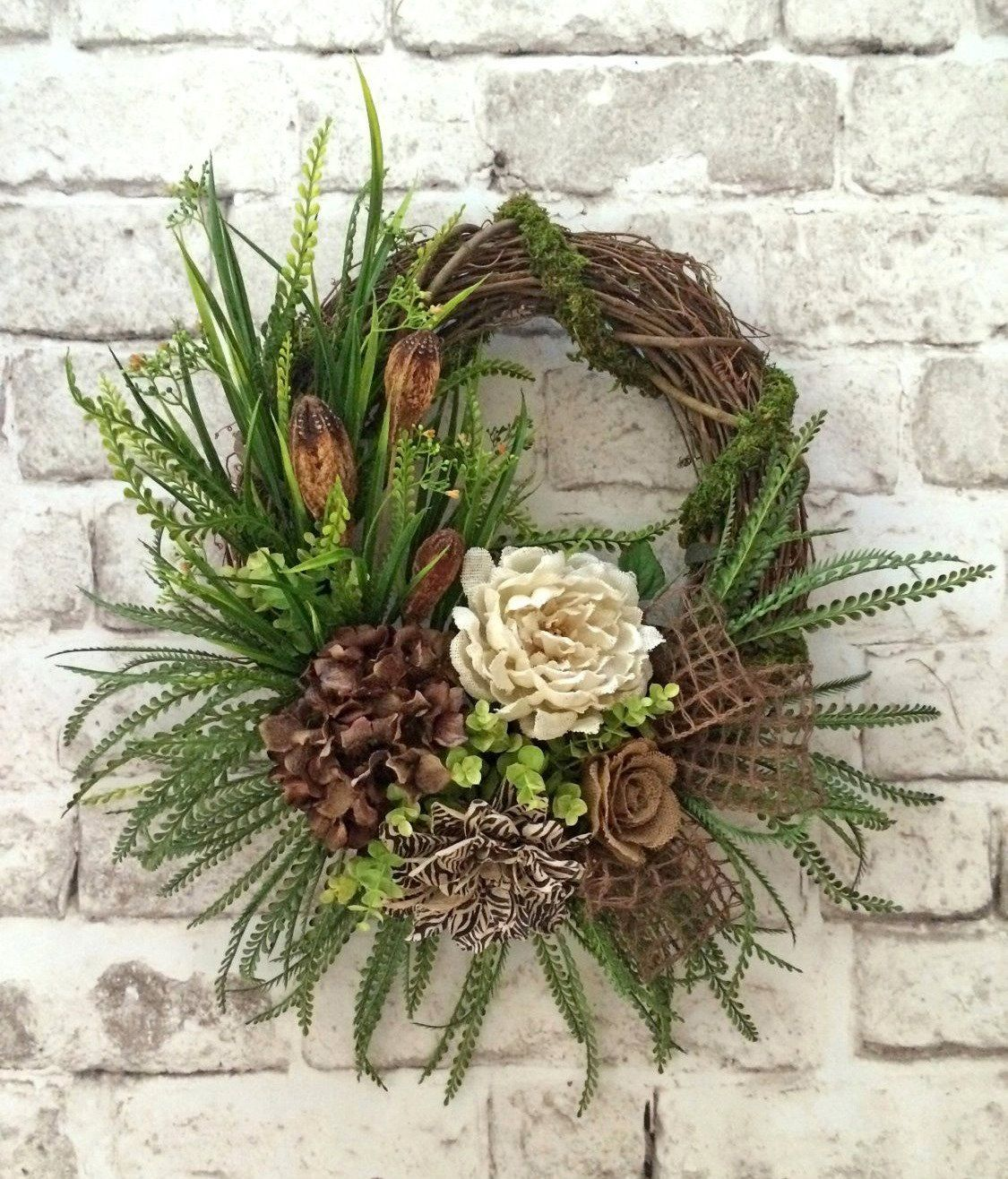 Fall Wreath for Door Front Door Wreath Summer by AdorabellaWreaths