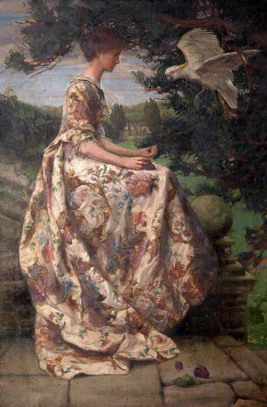 Young Woman on a Terrace Giving Grapes to a Cockatoo (Mrs Phyllis Woolner), 1901, Winifred Hansard Firth