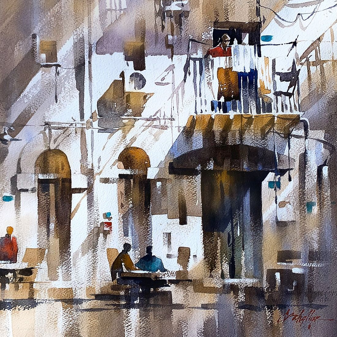 Sicilian Light Thomas W Schaller Watercolor Sketch 14x14 Inches