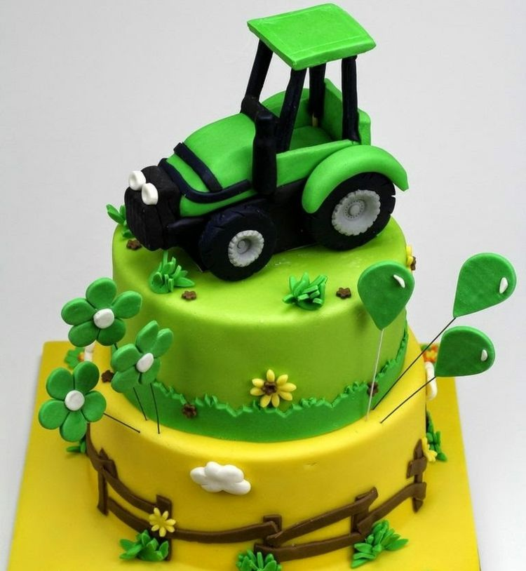 Geburtstagskuchen Geburtstagskinder Traktor Grun Rasen Gelb Zaun Fondant Geburtstagskuchen Kind Fondant Torten Kinder Kuchen Kindergeburtstag
