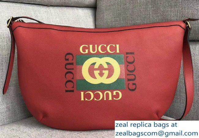 00de807c9760e2 Gucci Vintage Logo Print Half-Moon Hobo Bag 523588 Red 2018 | Bags ...