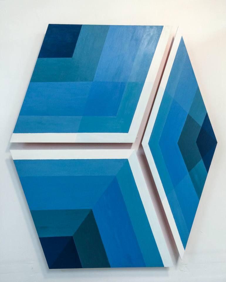 "Saatchi Art Artist Tristesse Seeliger; Painting, ""Tiles 9, 10, 11"" Blue, Penrose, cube #art"