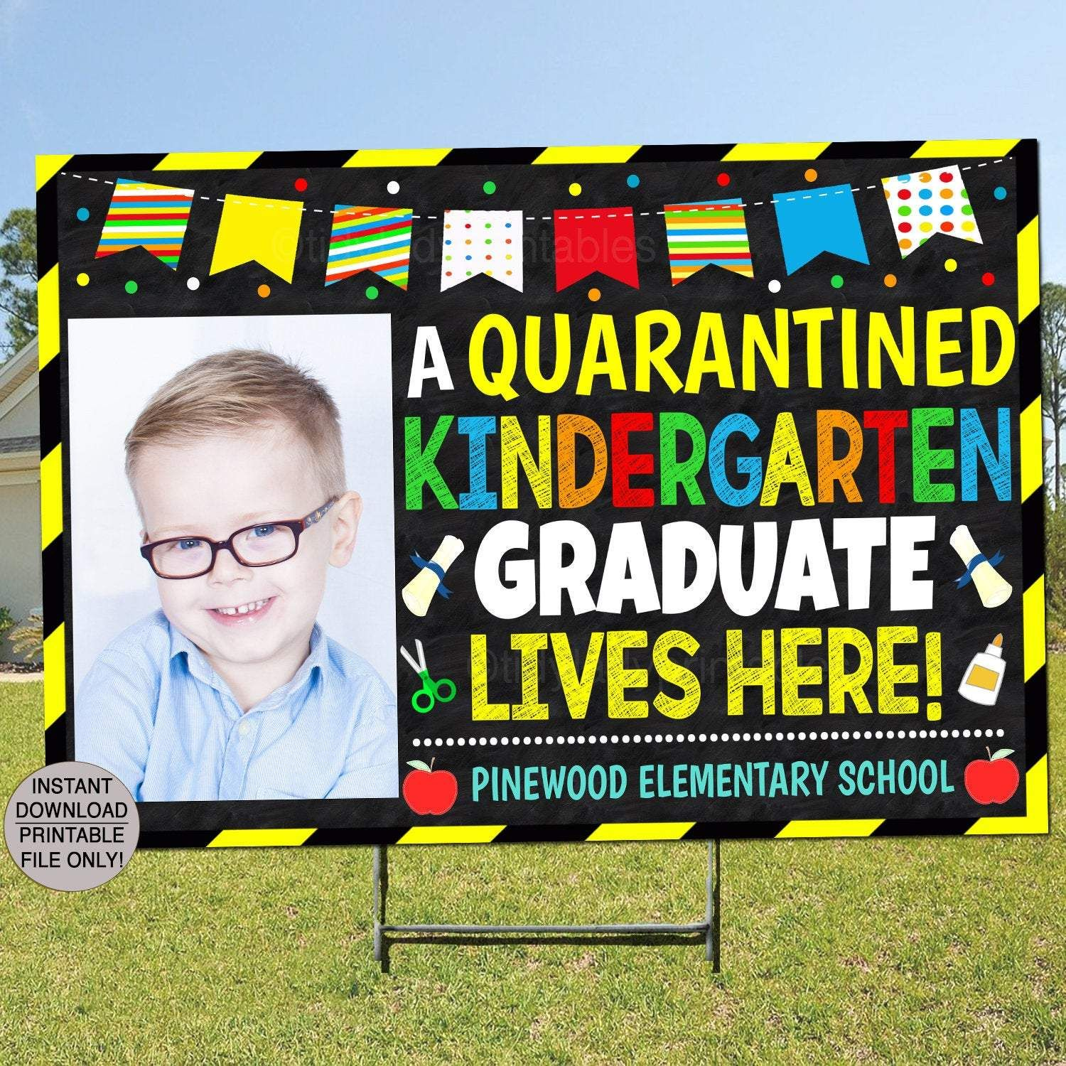 Kindergarten Graduation Yard Sign Printable Editable