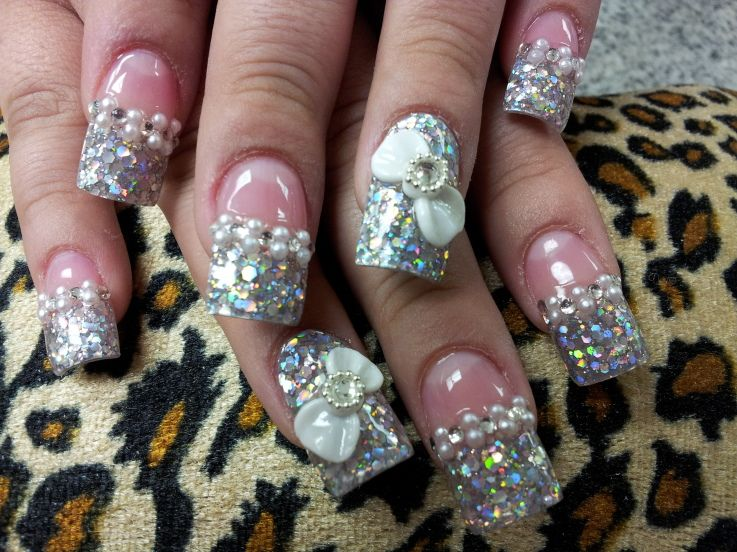 3d nails with chunky glitter tips - 3d Nails With Chunky Glitter Tips Nail Designs Pinterest 3d