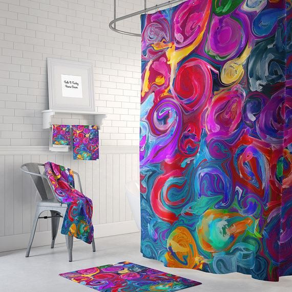 Color Crazy Shower Curtain Colorful Shower Curtain Boho Bathroom Abstract Shower Curtain