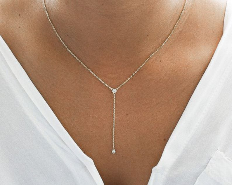 Gold Y Necklace Gold Necklace Lariat Necklace Gold   Etsy